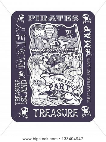 pirate party pirate sailor ship cat mouse Seagull treasure map island freehand drawing solid
