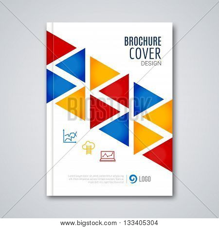 Cover flyer report colorful triangle geometric prospectus design background, cover flyer magazine, brochure book cover template layout, vector illustration.