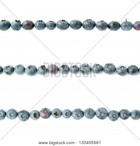 Line made of Ripe bilberry or blueberry over isolated white background