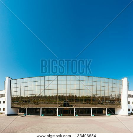 Gomel, Belarus - April 13, 2016: Building of Ice Palace in Gomel Belarus. Ice Palace is primarily used for ice hockey figure skating short track speed skating and other ice sports.
