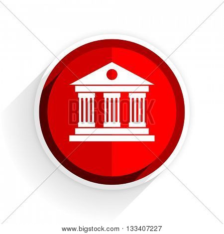 museum icon, red circle flat design internet button, web and mobile app illustration