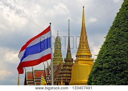 Thailand Asia   In  Bangkok Rain  Temple Plant   And  Flag Colors Religion