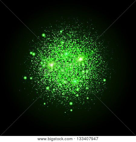 Shiny particles shape. Sparkling background. Stardust explosion on black background. Vector festive illustration.
