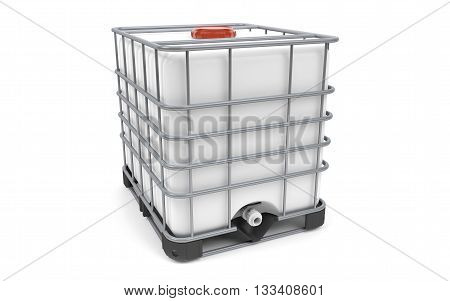 Plastic bulk with metallic cage isolated on white background. 3d rendering