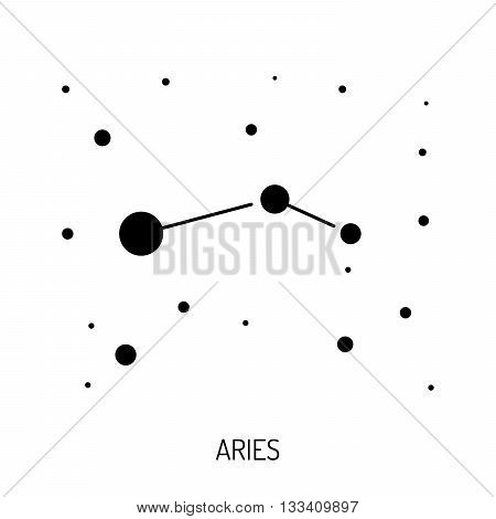 Group of stars forming a constellation. The constellation is made in a linear style