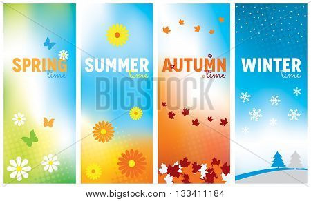 A set of seasonal banners for Spring Summer Autumn and Winter