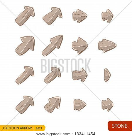 Set of cartoon stone arrow, stone buttons in gray colors, arrow icon isolated on white background