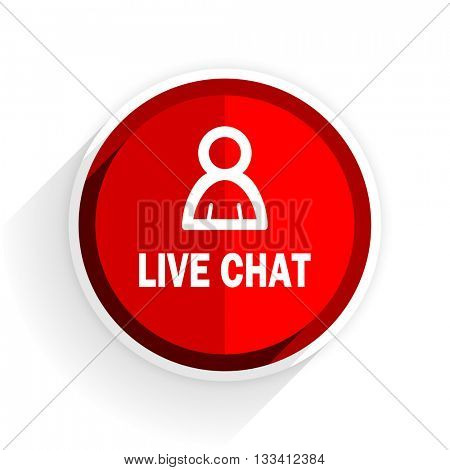 live chat icon, red circle flat design internet button, web and mobile app illustration