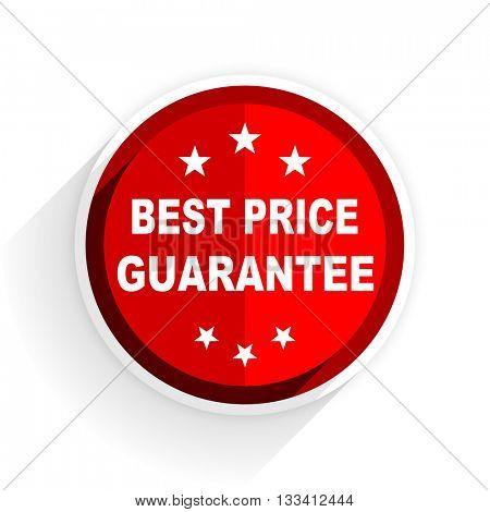best price guarantee icon, red circle flat design internet button, web and mobile app illustration