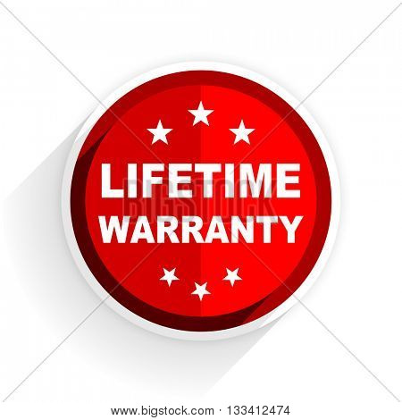 lifetime warranty icon, red circle flat design internet button, web and mobile app illustration