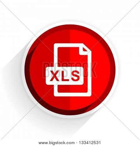 xls file icon, red circle flat design internet button, web and mobile app illustration