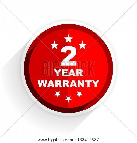 warranty guarantee 2 year icon, red circle flat design internet button, web and mobile app illustration