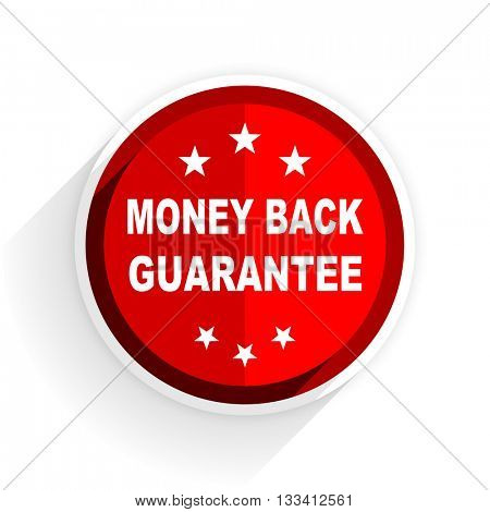 money back guarantee icon, red circle flat design internet button, web and mobile app illustration