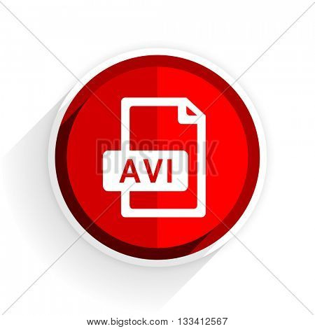 avi file icon, red circle flat design internet button, web and mobile app illustration