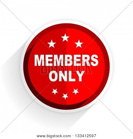 members only icon, red circle flat design internet button, web and mobile app illustration