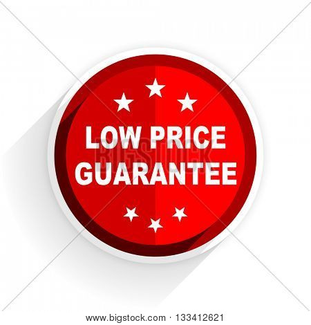 low price guarantee icon, red circle flat design internet button, web and mobile app illustration