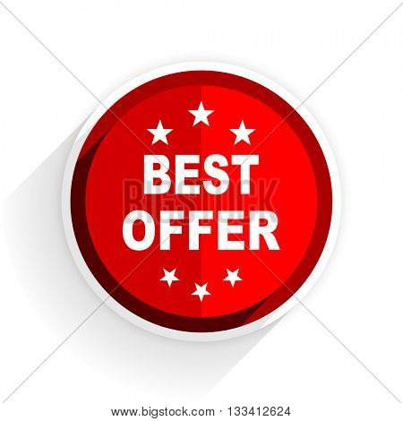 best offer icon, red circle flat design internet button, web and mobile app illustration