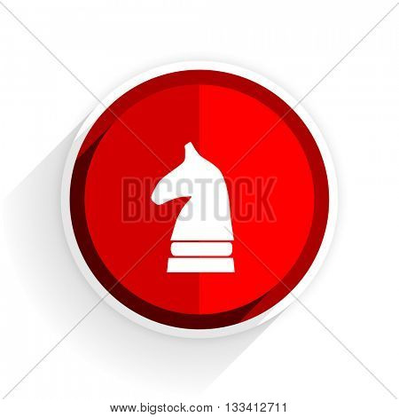 chess horse icon, red circle flat design internet button, web and mobile app illustration