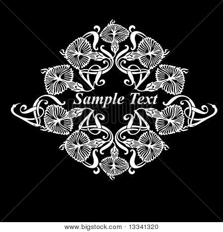 Black And White Ornate Flower Vector Quad