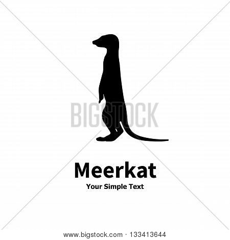 Vector illustration of a silhouette standing meerkat isolated on white background. Meerkats side view profile.