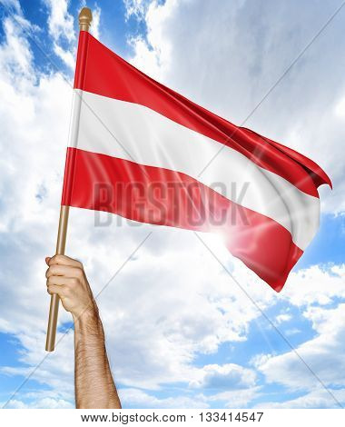Person's hand holding the Austrian national flag and waving it in the sky, 3D rendering