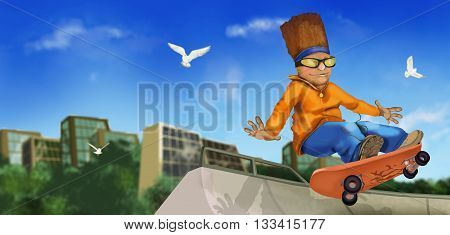 skateboarder is riding on skateboard site in the town