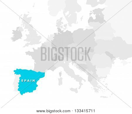 Spain location modern detailed map. All european countries without names. Vector template of beautiful flat grayscale map design with selected country name text and Spain border location