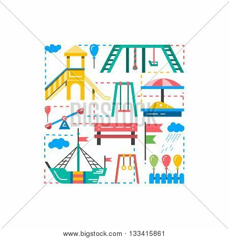 Childrens Playground with swings. A place for children play in the yard. Childrens Playground drawn in a linear style vector outline.