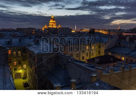 View of St. Isaac's Cathedral from the roof of the house, St. Petersburg, Russia