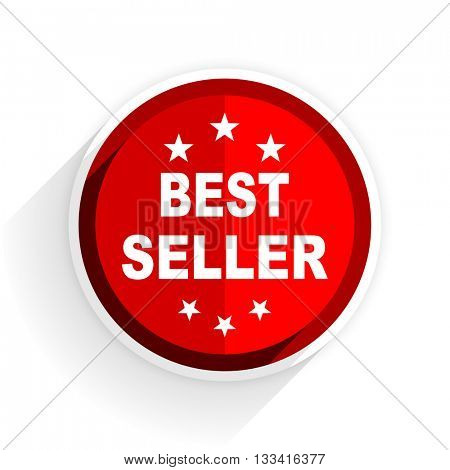 best seller icon, red circle flat design internet button, web and mobile app illustration