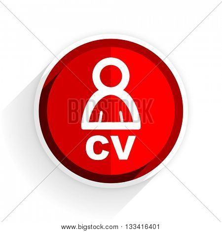 cv icon, red circle flat design internet button, web and mobile app illustration