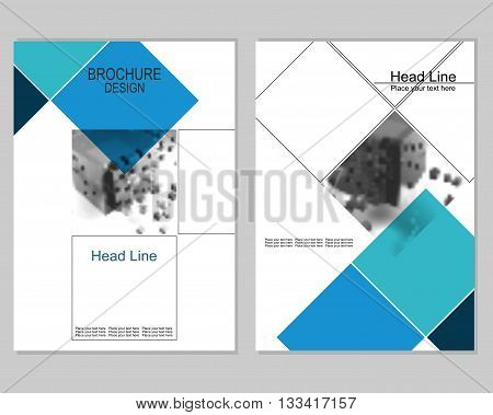 Vector brochure cover templates with blurred abstract cubes. Business brochure cover design. EPS 10