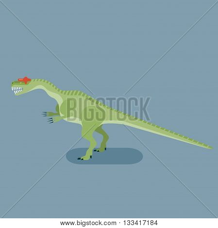 Monster Allosaurus icon. Extinct animal. Prehistoric carnivore dinosaur. Trendy flat vector illustration.