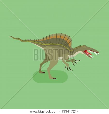 Spinosaurus icon. Extinct animal. Spiny lizard. Prehistoric carnivore dinosaur. Trendy flat vector illustration.