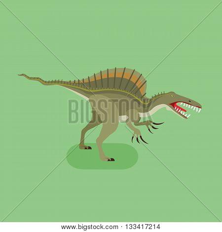 Spinosaurus icon. Extinct animal. Spiny lizard. Prehistoric carnivore dinosaur. Trendy flat vector illustration.