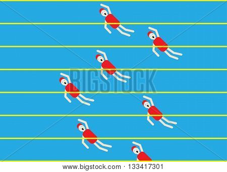 competitive swimming in the pool vector illustration