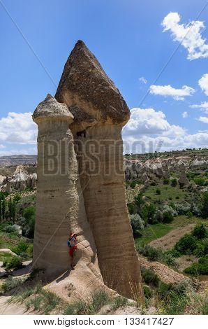 Photographer in Love valley Goreme Cappadocia Turkey