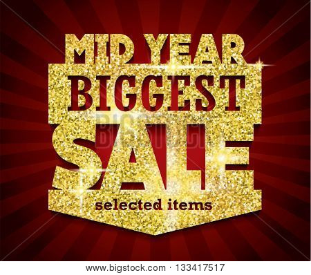 Golden Mid Year Biggest Sale concept vector banner. sale layout design. rich and fashion vector illustration