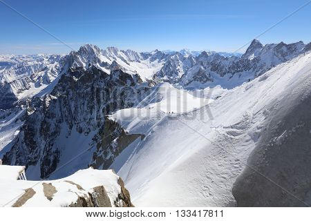 Extreme Ski Sports at Mont Blanc Massif. Chamonix. France