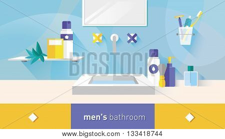 vector illustration bathroom for men menthol and red shades