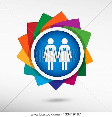 Lesbian Color Icon, Vector Illustration