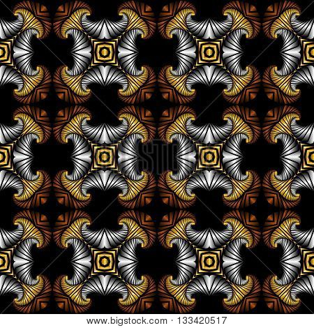 Abstract deluxe seamless pattern with golden silver and bronze decorative elements on black background