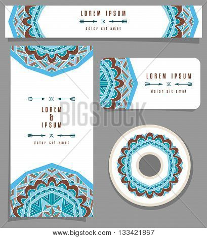 Branding design with ethnic ornament. Blue and brown mexican pattern for corporate identity or fashion cards. Set of flyer or poster, business card, horizontal banner, DVD design. Vector illustration.