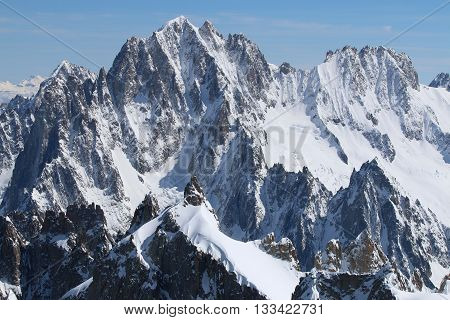 Aiguille Verte (Chamonix Needles) and Les Droites in Mont Blanc Massif. Chamonix. France
