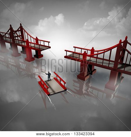 Expert advice and problem solver business solution concept as a person or businessman navigating the missing piece of a bridge as a metaphor for technical expertise or professional consultant with 3D illustration elements.