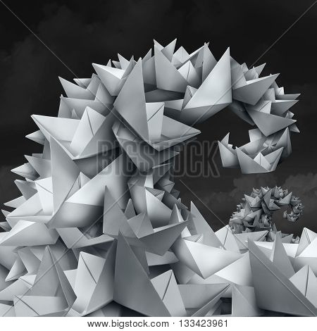 Business trends concept as a group of paper boats shaped as a giant wave and tide as a forecast metaphor for crowd funding and social media trend setting in a 3D illustration style.