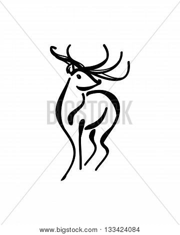Abstract image of a deer with large horns a pattern of black lines. On gray background vector
