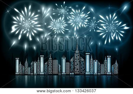Abstract illustration of fireworks exploding in night sky over downtown city with reflection in water of grey blue shades