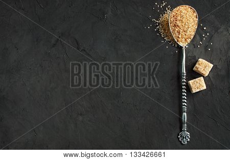 Vintage Silver Spoon With A Brown Cane Suga