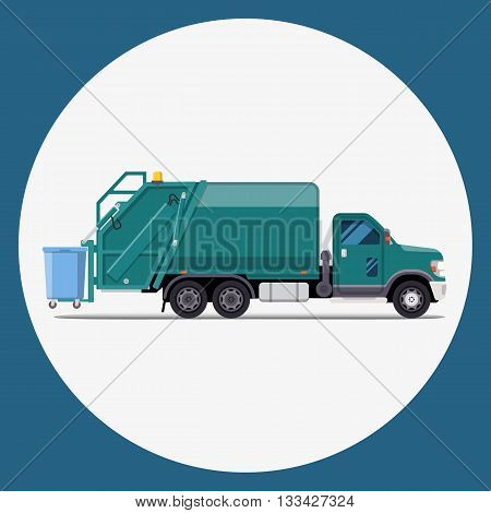 garbage truck flat modern design. Vector illustration